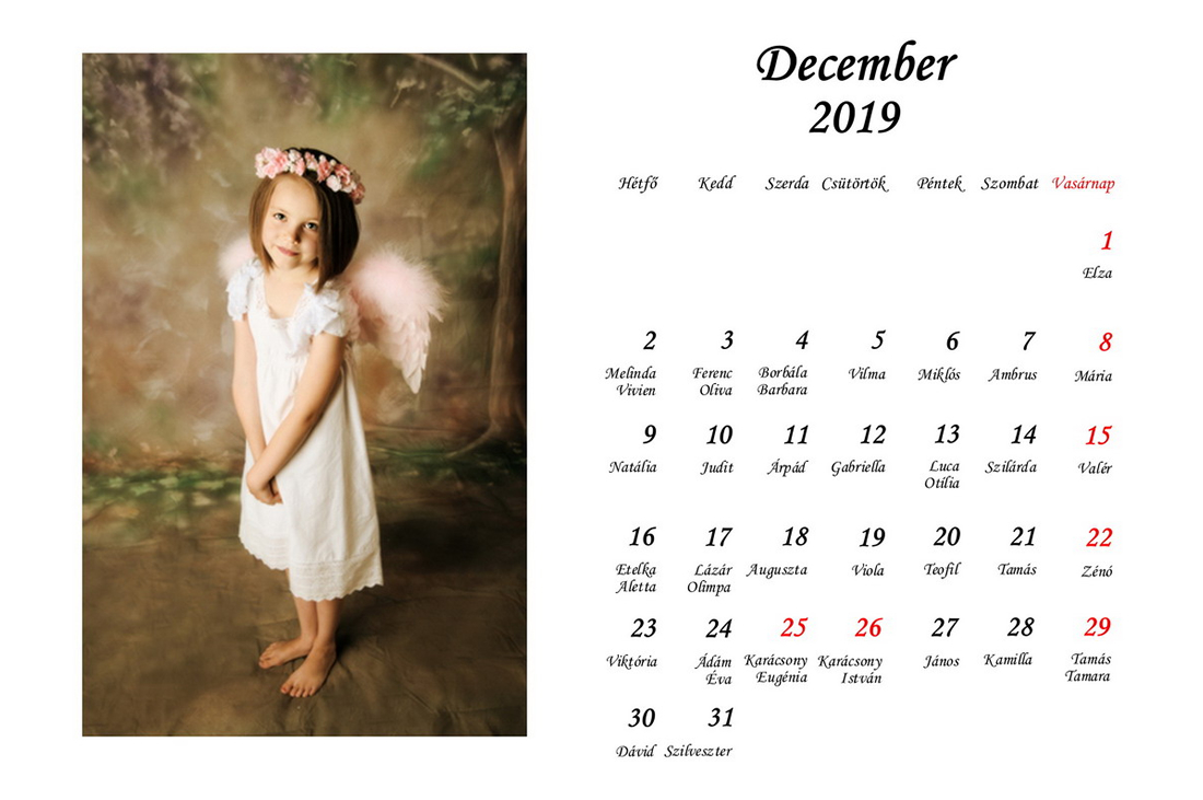 2019 - es névnapos asztali naptár minta!