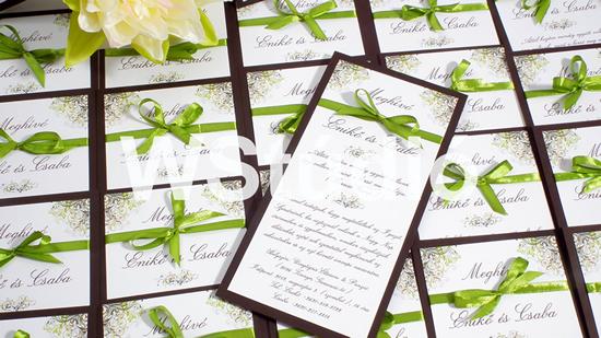 Egyoldalas esküvői meghívó szalaggal