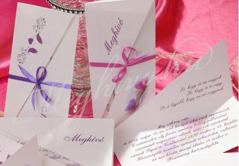 Átlósan vágott esküvői meghívó