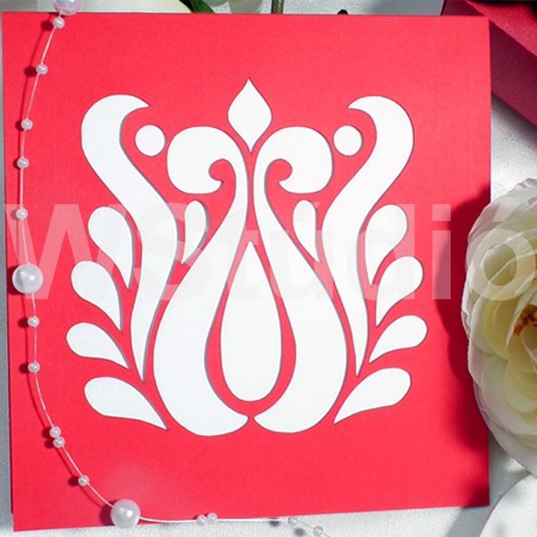 Magyaros esküvői meghívó piros tulipán