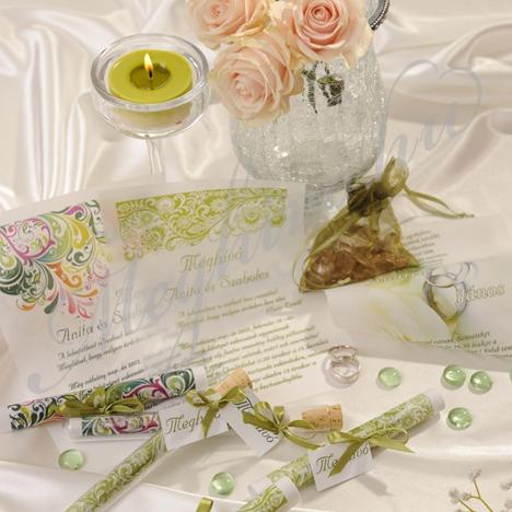Pausz tekercses esküvői meghívó